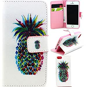 5S,iPhone 5S Case,Simlcase iPhone 5S Wallet Case [Stand Feature] Magnetic Snap Case Wallet [Wallet S] Premium Wallet Case Flip Case Cover Skin for iPhone 5s iPhone 5 Case -Pineapple shape colorful