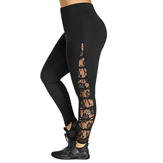1aa1a912660753 Leyorie Women High Waist Capris Side Lace Cross Floral Trousers Plus Size  Yoga Sport Sexy Pants