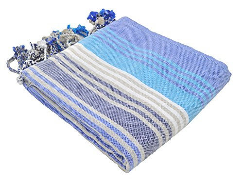 InfuseZen Striped Colorful Turkish Towels, Peshtemal Towels for Bath, Beach, Pool Spa, Yoga, Gym, 100% Cotton Thin and Absorbent Towel, Large Hammam Towels (Navy)