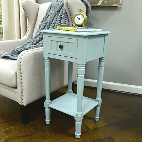 Décor Therapy FR1550 Simplify One Drawer Square Accent Table Antique Iced Blue