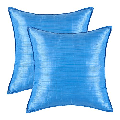 """SET OF 2 Euphoria Cushion Covers Pillows Shells Light Weight Dyed Stripes Blue Color 18"""" X 18"""""""