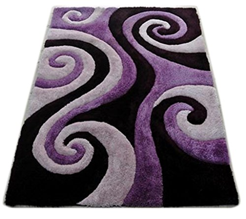Shag Area Rug Design 3-D 805 (Purple, 8 Feet X 10 Feet)
