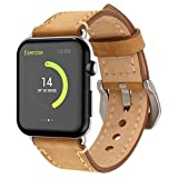 Apple Watch Band, 42mm iWatch Strap Premium Vintage Crazy Horse Genuine Leather Replacement Watchband with Stainless Metal Clasp for All Apple Watch Sport Edition - Brown