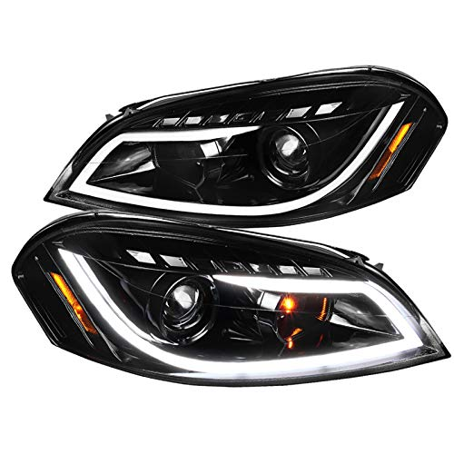 Jet Black Chevy Impala Monte Carlo LED Projector Headlights+Signal Lamps (Headlights Projector Impala)