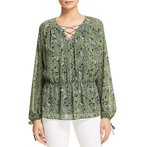 Michael Michael Kors Womens Paisley Print Lace-Up Peasant Top Green XS