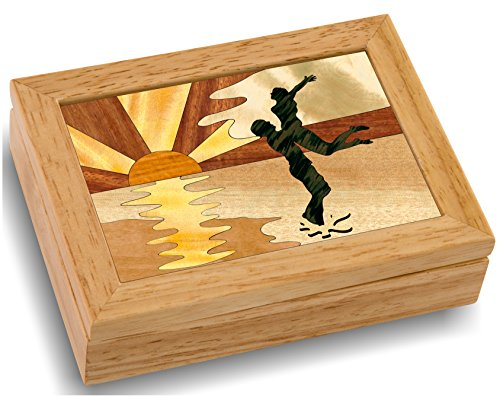 Wood Art Sunset Box - Handmade USA - Unmatched Quality - Unique, No Two are the Same - Original Work of Wood Art. A Couples Gift, Ring, Trinket or Wood Jewelry Box (#4142 Couples Sunset 4x5x1.5)