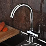 Ouku Solid Brass Deck Mounted Kitchen Faucet - Chrome Finish