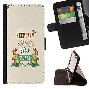 King Case - FOR Samsung Galaxy Core Prime - keep calm and pick flowers - Prima caja de la PU billetera de cuero con ranuras para tarjetas, efectivo Compartimiento desmontable y correa para la mu?eca