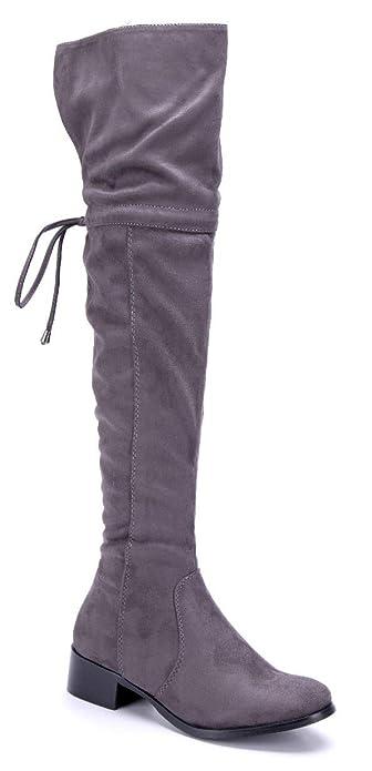 20fc110bdca6d1 Schuhtempel24 Damen Schuhe Overknee Stiefel Stiefeletten Boots grau  Blockabsatz Zierschleife 4 cm