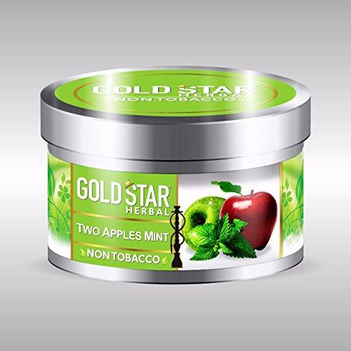 GOLDSTAR Herbal NON Tobacco Smoke TWO APPLE MINT Flavor Premium Hookah 200 gm