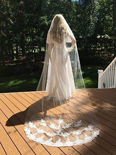 Bridal Lace Veil, Wedding Lace Veil, White Bridal Veil, Ivory Wedding Veil