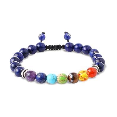 Beads Bracelet for Men Women Enjoit Lava Rock Elastic Natural Stone Chakra Healing Bangle FJ1jiJ