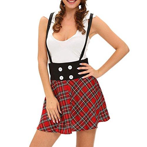 [SEBOWEL Sexy School Uniform for Cosplay Halloween Costume Fancy Dress-(Red,L)] (Preppy School Girl Costumes)