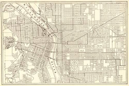 Original Antique Wall Map - 1911 Antique Portland City Map Original Vintage Map of Portland Oregon Not a Reprint Home Office Decor Black and White Gallery Wall Art #1224