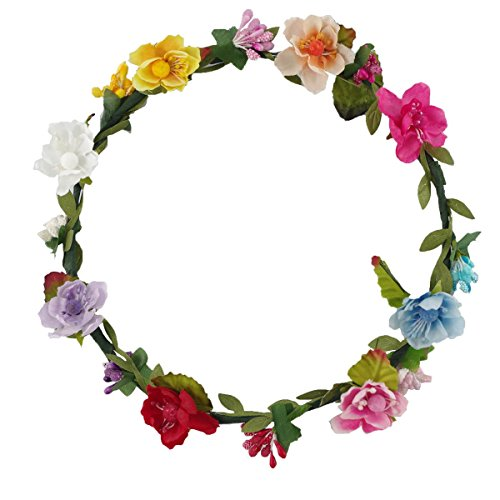 DreamLily Women's Flower Festival Wedding Hair Wreath Boho Floral Headband BC09 (Mix-Color) -
