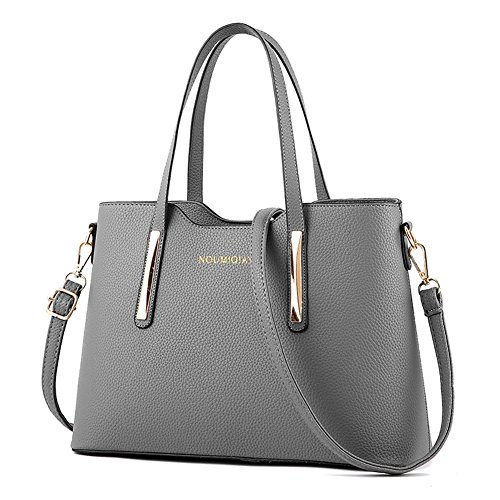 LIZHIGU Womens Leather Shoulder Bag Tote Bag Top-handle Handbags Purse Bags For Girls Office Ladies Gray