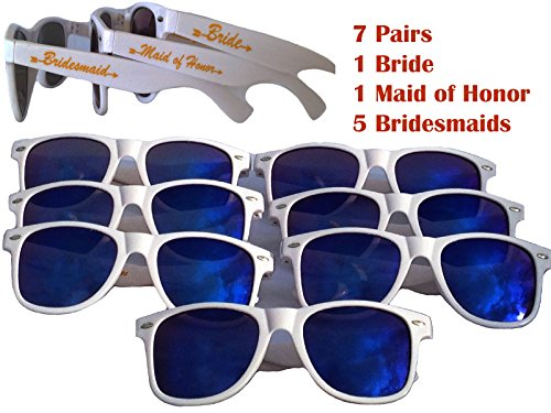 Bridal Bachelorette Party Favors- 7 pairs: 1 Bride, 1 Maid of Honor, 5 Bridesmaid Sunglasses by Fabulous - Sunglasses 7 Pack