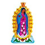 NOVICA Large Multicolor Puzzle Wood Sculpture, 12.5'' Tall, 'Virgin Of Guadalupe'