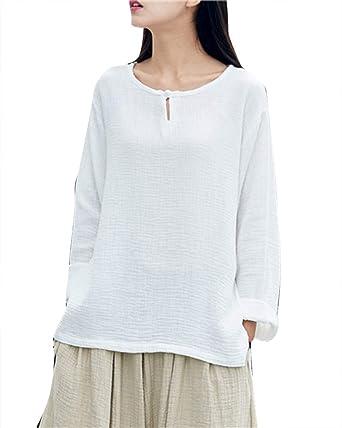Mujer Elegantes Suelto Blusas De Lino Manga Larga Camisas Oversize Tops Blanco: Amazon.es: Ropa y accesorios