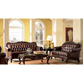 Amazon.Com: Victoria Classic Button Tufted Leather Sofa Set