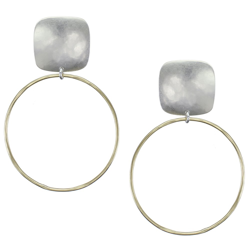 Marjorie Baer Rounded Square with Large Ring Clip on Earring in Brass and Silver
