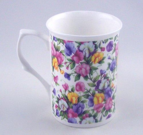(Sweet Pea Chintz - Fine English Bone China Mug - England)