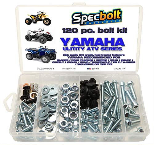 - Specbolt Fasteners Bolt Kit | Yamaha - Badger Grizzly Wolverine Rhino Warrior Kodiak Bear Tracker Breeze Bruin Champ Timberwolf Tri Z 4-Zinger YF YFM YTZ 1984 & Up model ATVs: basic pack (S)