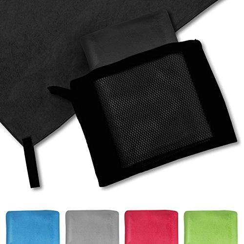 casa pura® Mikrofaser Handtuch Magic Dry | Schwarz | 80x180 | schnelltrocknend | platzsparend in Netztasche unterbringbar
