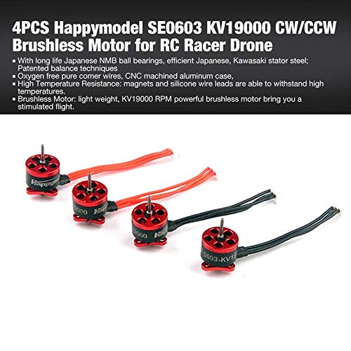 Wikiwand 4PCS Happymodel SE0603 KV19000 CW/CCW Brushless Motor for RC Racer Drone by Wikiwand (Image #1)