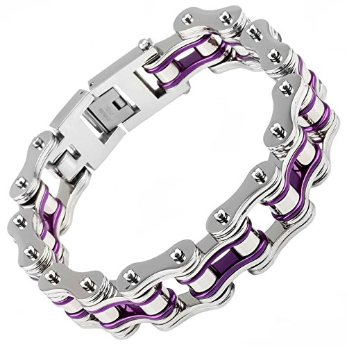 - X-xin Bicycle Bracelet Bike Titanium Chain Bracelet Biker Jewelry Men's Jewelry Heavy Silver Gold Stainless Steel Motorcycle Biker Bracelet 9'' (silver & purple)