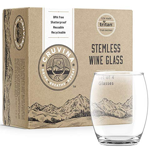 Unbreakable Stemless Plastic Wine Glasses: Shatterproof Tritan Cups, Ideal for Indoor and Outdoor Use, Elegant and Practical, 13 Ounce Glass Set of ()