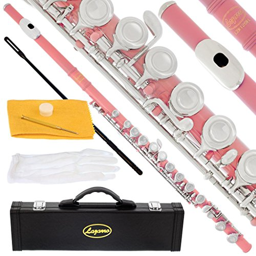 (120-LP - LIGHT PINK/NICKEL Keys Closed C Flute Lazarro+Pro Case,Care Kit - 10 COLORS Available ! CLICK on LISTING to SEE All)