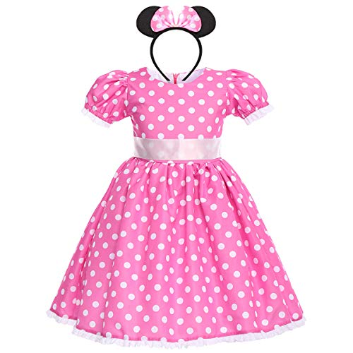 Toddler Kid Girl Minnie Polka Dots Party Tutu Dress Pageant Party Wedding Bithday Fancy Costume Dress up Halloween Evening Theatricals 18-24 Months