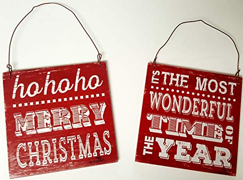 HAPPY DEALS ~ Wooden Sign Ornament - Set of 2 -Ho Ho Ho Merry Christmas and Most Wonderful Time of The Year Ornaments Set - ()