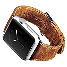 Apple Watch Band,iitee Genuine Leather Strap Wristband Replacement Band with Adapters&Metal Clasp for Apple Watch Sport&Edition iWatch (38mm vintage orange)