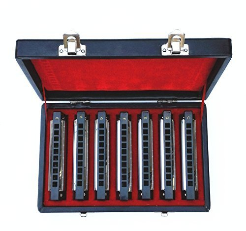 Swan 10 Holes Blues Power Harmonica Blues Harp Harmonica Set 7 Keys In Gift Box (A B C D E F G)
