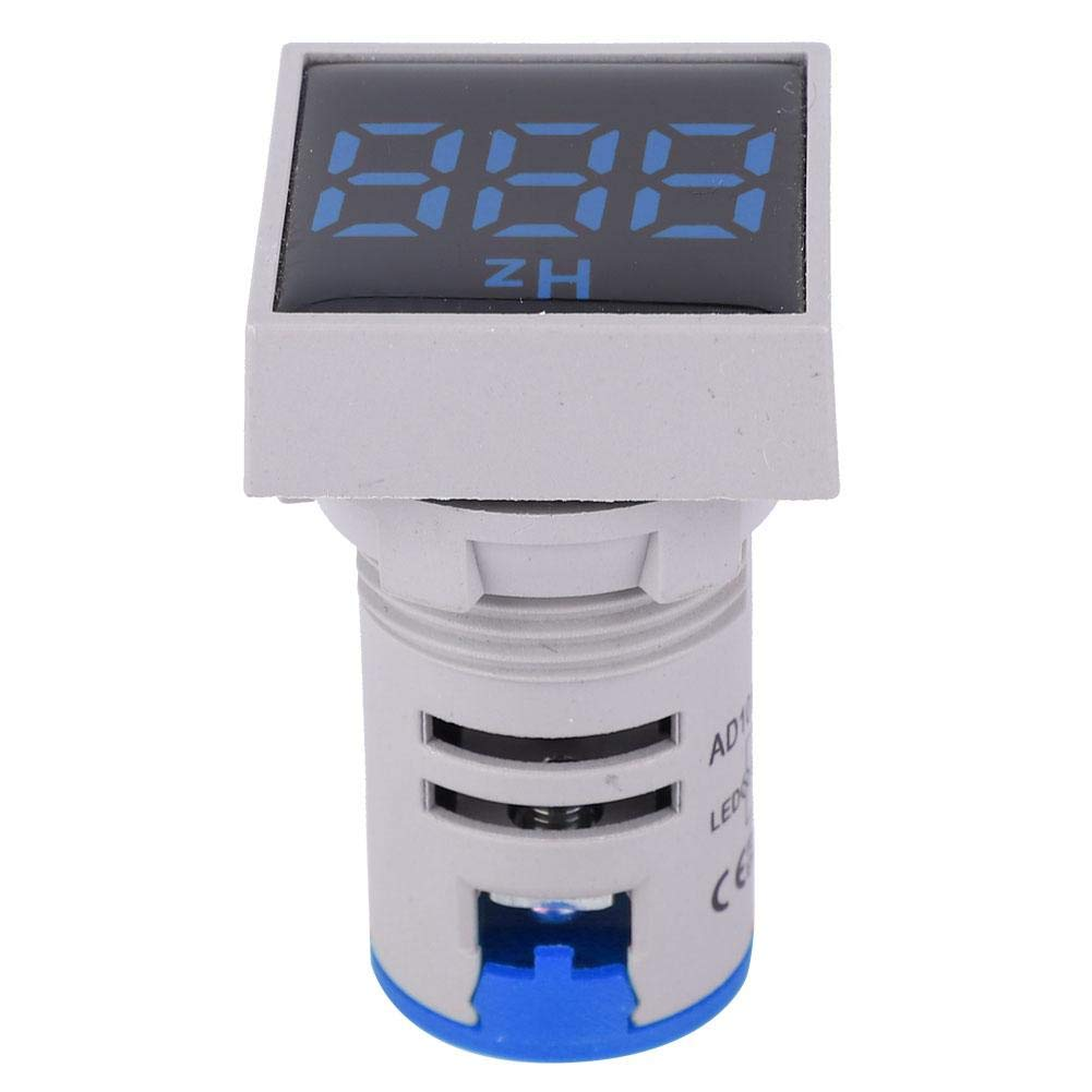 Blue Frequency Indicator,Square Digital Display LED Indication Light AC100~380V 20~75Hz Frequency Measuring Device
