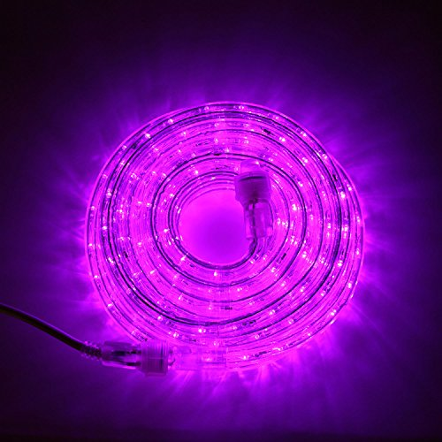 24 Ft. Plugin Rope Lights, 287 Purple LEDs, Connectable, Dimmable, Waterproof, Indoor/Outdoor Use, Ideal for Backyards, Weddings and Christmas Decor
