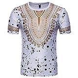 Coolred-Men Short-Sleeve Dashiki African Floral Print Round Neck T-Shirts White S