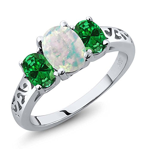 1.75 Ct Emerald Diamond (1.75 Ct Oval White Simulated Opal Green Simulated Emerald 925 Silver 3 Stone Ring)