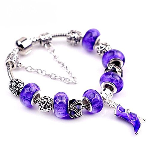 The Starry Night Wonderful Geometry Beads Purple Glass Beaded Boots Pendant Vintage Silver (Cat Eye Double Wireless Manual)