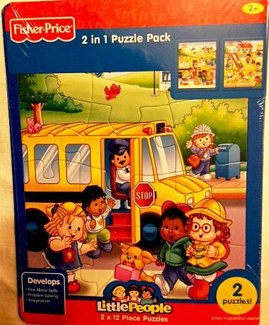 Fisher Price Little People 12 Piece Frame Tray Puzzle - School - 2 Pack