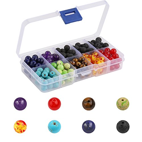 Accmor 200pcs 8mm Chakra Beads and Black Lava Rock Stone Volcanic Stone for Essential Oil and Jewelry Making Bracelet Necklace, Suitable for Men Women Agate Round Earrings