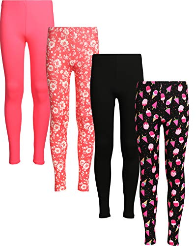 dELiA*s 4 Pack Girl's Basic Yummy Active Leggings (Solids & Prints) (10/12, Ice Cream/Flowers)'