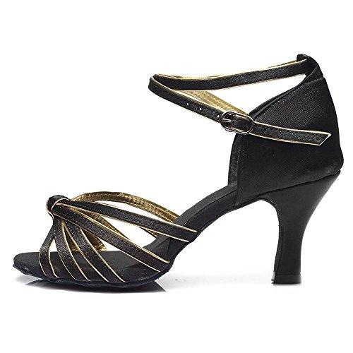 11corlors Baile Zapatos Gold 5cm Latino De 7cm Mujer 7cm Black Tango ballroom Yff Heels xzqwUFS