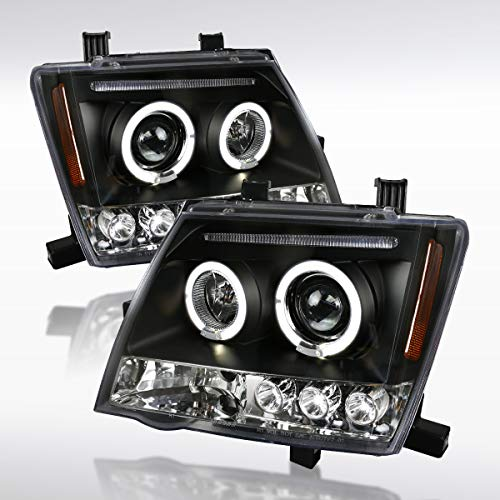 (Autozensation For Nissan Xterra Replacement Black LED Halo Projector Headlights Pair)