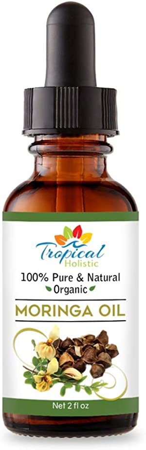 100% Pure Virgin Organic Moringa Oil 2 oz - Cold Pressed Unrefined Natural, Undiluted Food Grade & Non-GMO For Face, Body, Hair with Glass Bottle w/Dropper