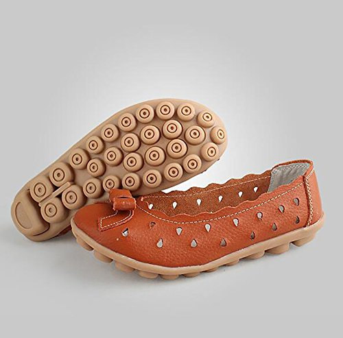 Zapatos Zapatos SHANGXIAN US5 Respirable 5 Cuero Orange Enfermera Casual De Oficina De Trabajo UK3 Black De Los Zapatos Mujeres EU36 Cómodo Zapatos Mamá Antideslizante 5 CN35 ZzqwZpxr