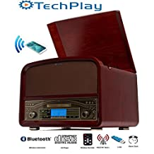 TechPlay TCP9560BT CH, Bluetooth 20W Retro Wooden 3 Speed Turntable with CD Player, AM/FM Radio, USB Recording & Playback with Remote Control - Cherry wood color