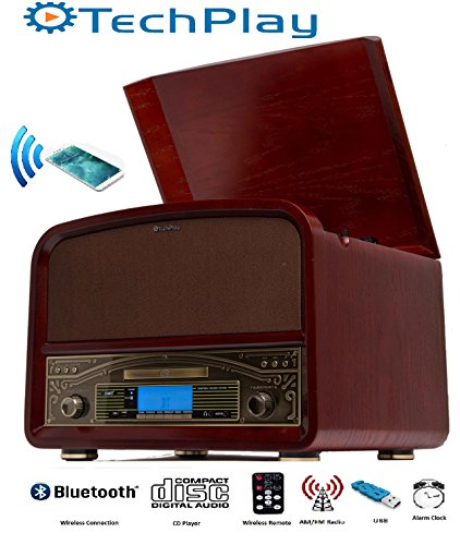 TechPlay TCP9560BT CH, Bluetooth 20W Retro Wooden 3 Speed Turntable with CD Player, AM/FM Radio, USB Recording & Playback with Remote Control - Cherry wood color (Cd Project Player)